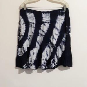 INC Navy Ruffle Tie Dye Skirt XL
